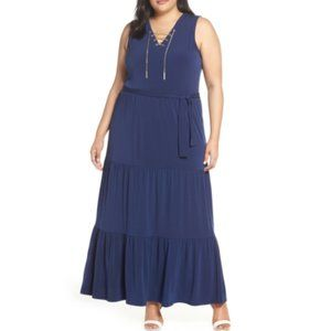 Tiered Lace Up Stretch Knit Maxi Grecian Blue